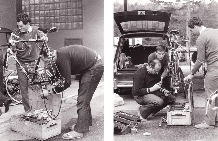 Zwei Bilder: Es werden Fahrräder repariert