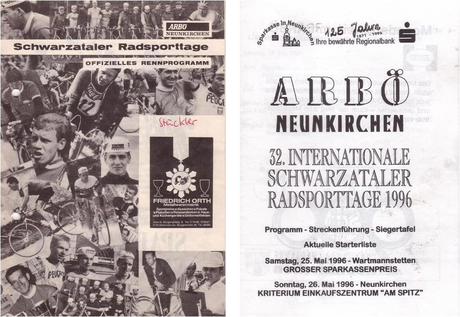 Schwarzataler Radsporttage 1996, Programm