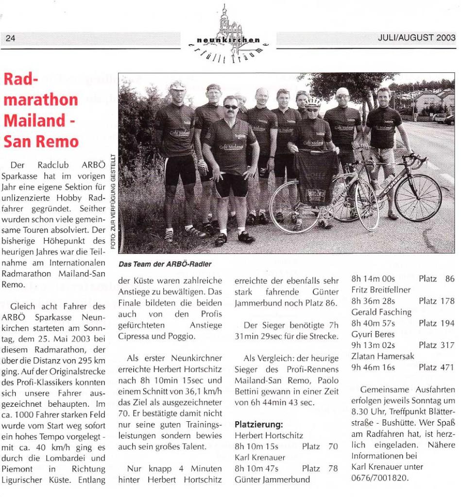 Presse Radmarathon Mailand-San Remo Gemeindestube